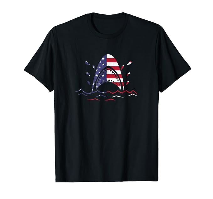 American Flag USA Great White Shark graphic TEE Shirt