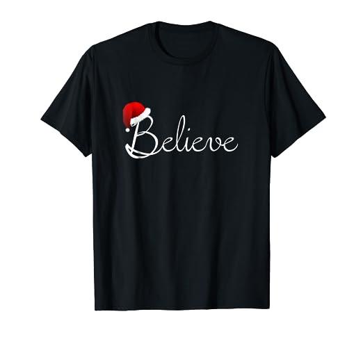 d6ba29a1 Amazon.com: Believe Christmas Shirt - Best Santa Christmas Tee: Clothing