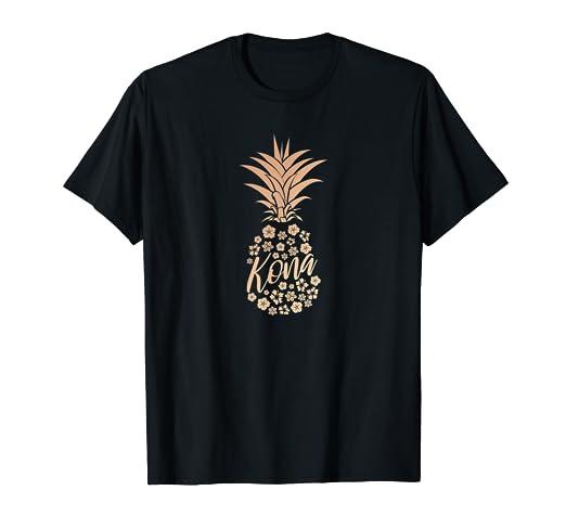 12415e0934aa Amazon.com: Womens Rose Gold Pineapple Shirt Kona Hawaii Souvenir ...