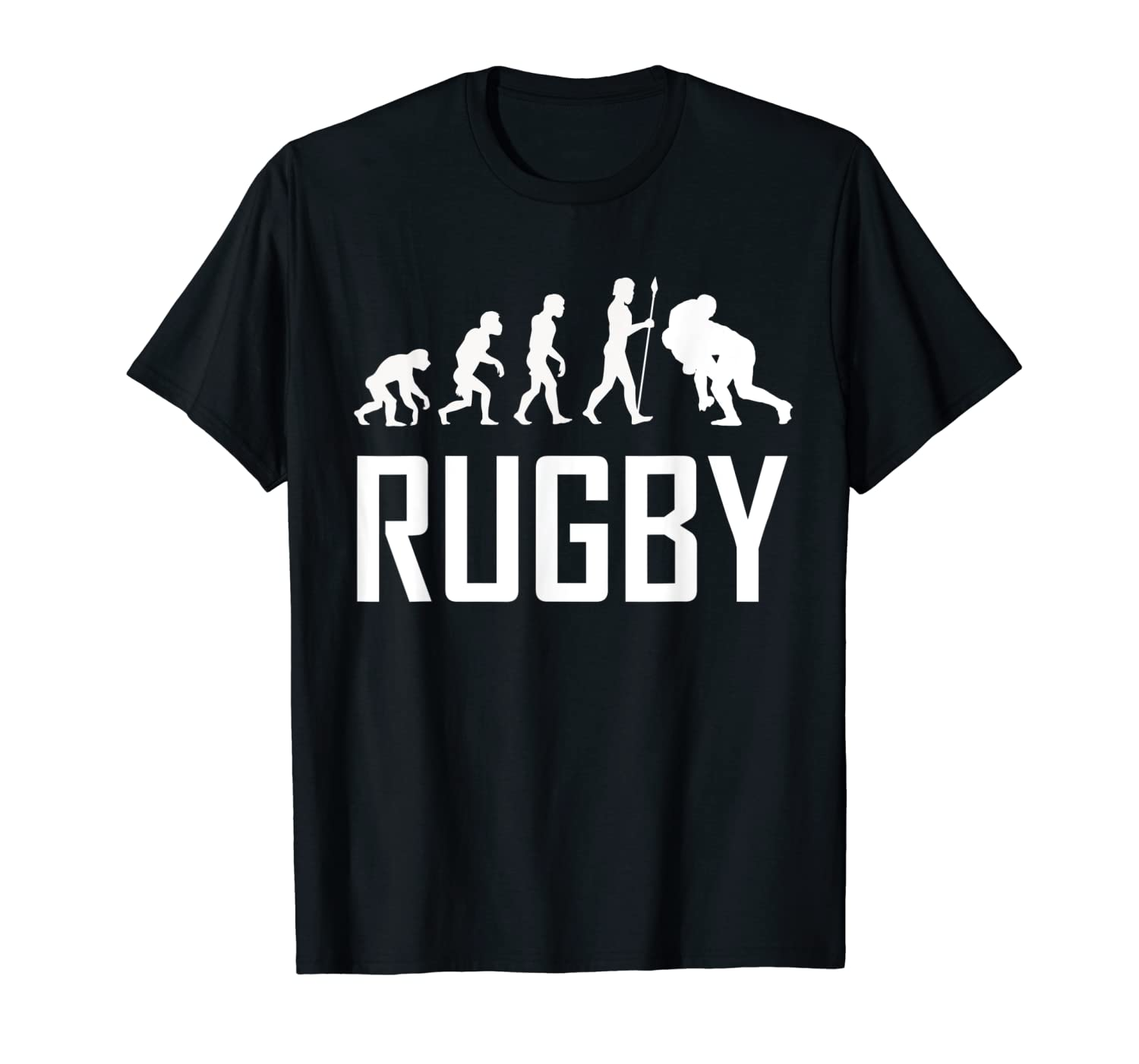 84203ab9195 Amazon.com: Rugby Tackle Evolution Funny Rugby Shirt: Clothing