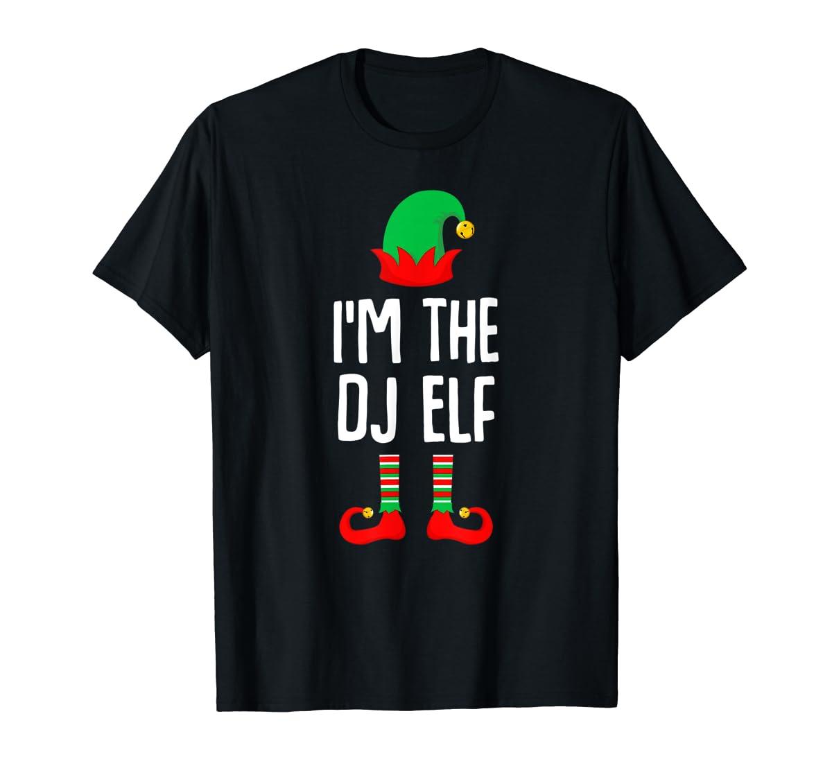 I'm The Dj Elf Matching Family Group Christmas T-Shirt-Men's T-Shirt-Black