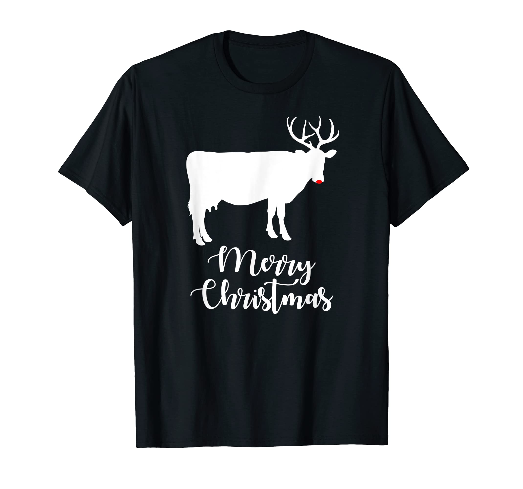 Christmas Cow Reindeer X-mas Gift for Cow Lovers or Farmers T-Shirt-Men's T-Shirt-Black