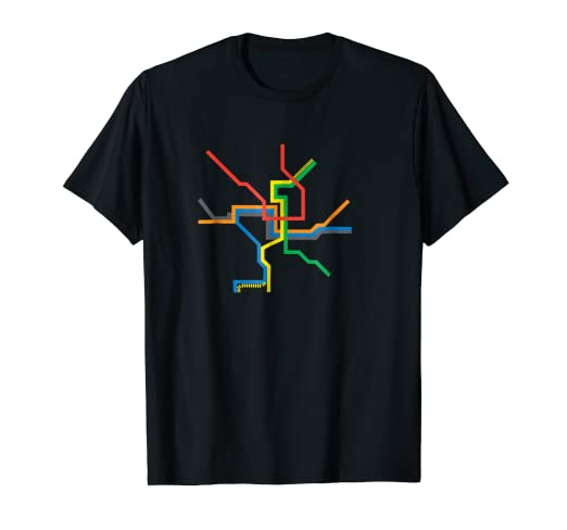Dc Metro Map Yellow Line.Amazon Com Washington Dc Metro Map Shirt Dc Subway Art Tee Clothing