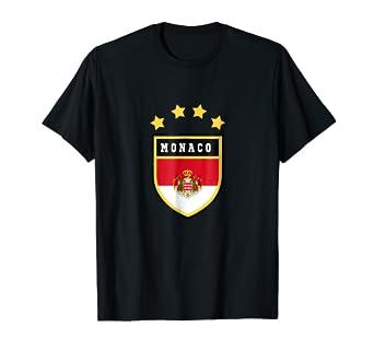 f59a9b51c1052e Amazon.com: Monaco T-shirt Coat of arms Tee Flag souvenir Monte ...