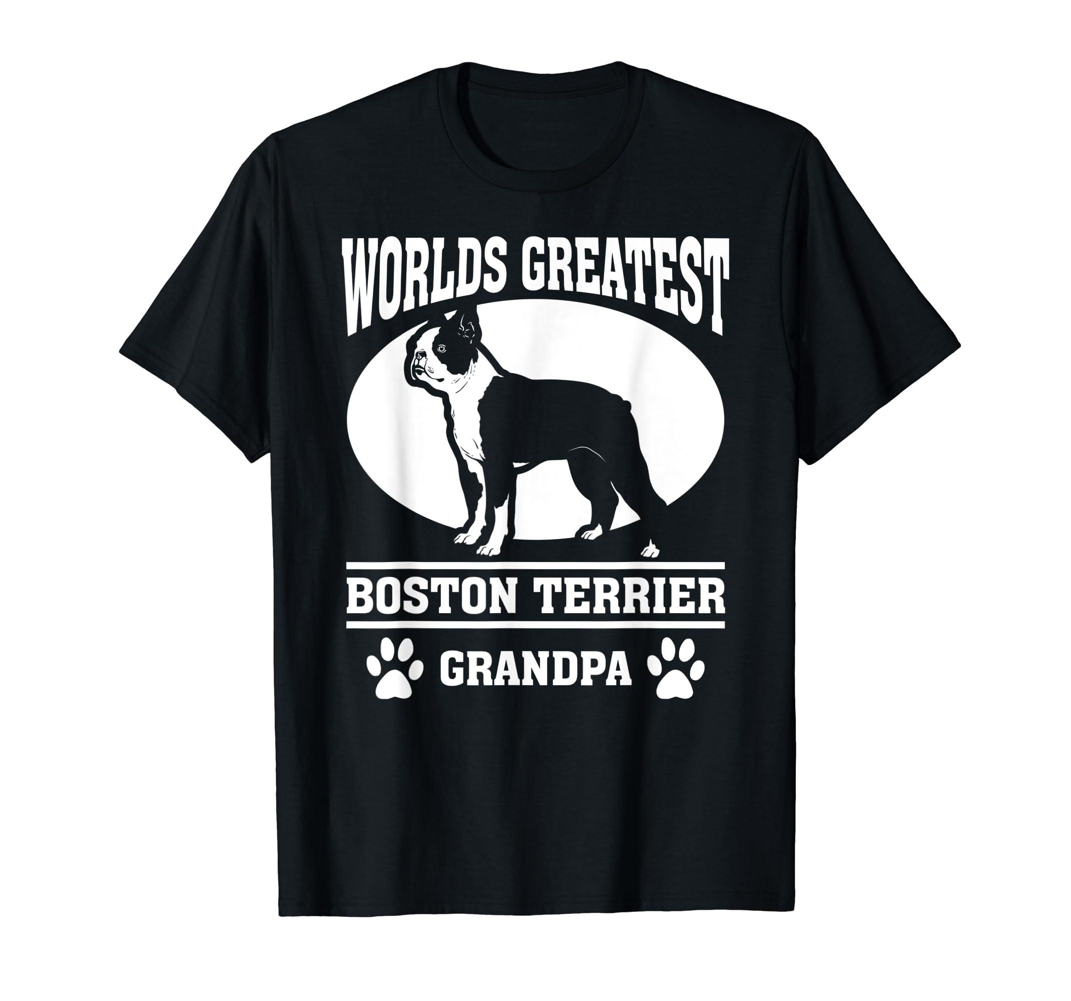 Mens Worlds Greatest Boston Terrier Grandpa T-shirt-Men's T-Shirt-Black