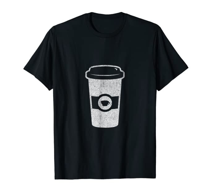 Minimal Graphic of Paper Coffee Cup Tee Shirt for baristas