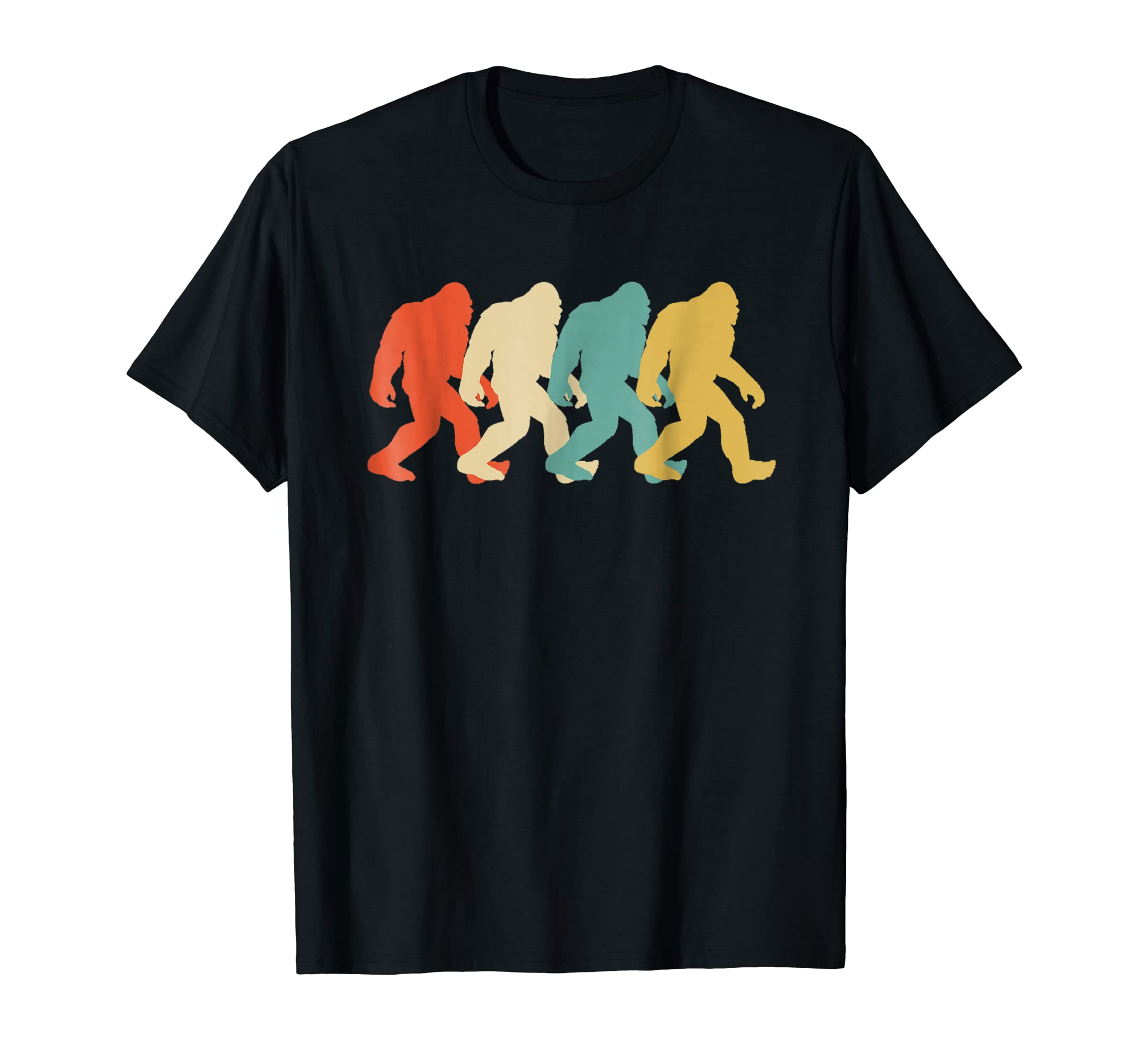 Bigfoot Silhouette Retro Pop Art Sasquatch Graphic T-Shirt-Men's T-Shirt-Black