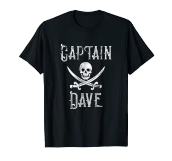 2d1ce36f1faad Image Unavailable. Image not available for. Color  Captain Dave Vintage Personalized  Pirate Party Boat Shirt