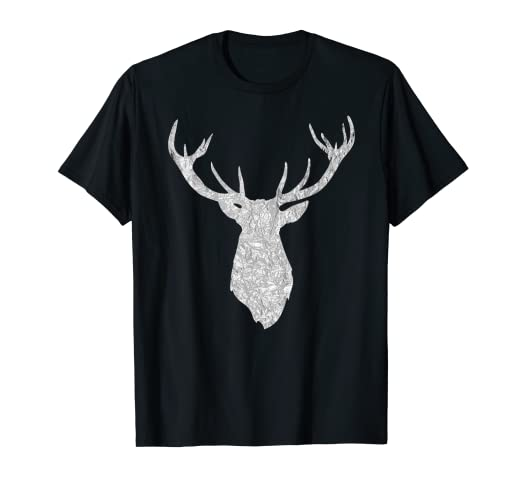 c299e4b3 Image Unavailable. Image not available for. Color: Buck Stag Deer Head  Antlers Silver Silhouette T Shirt