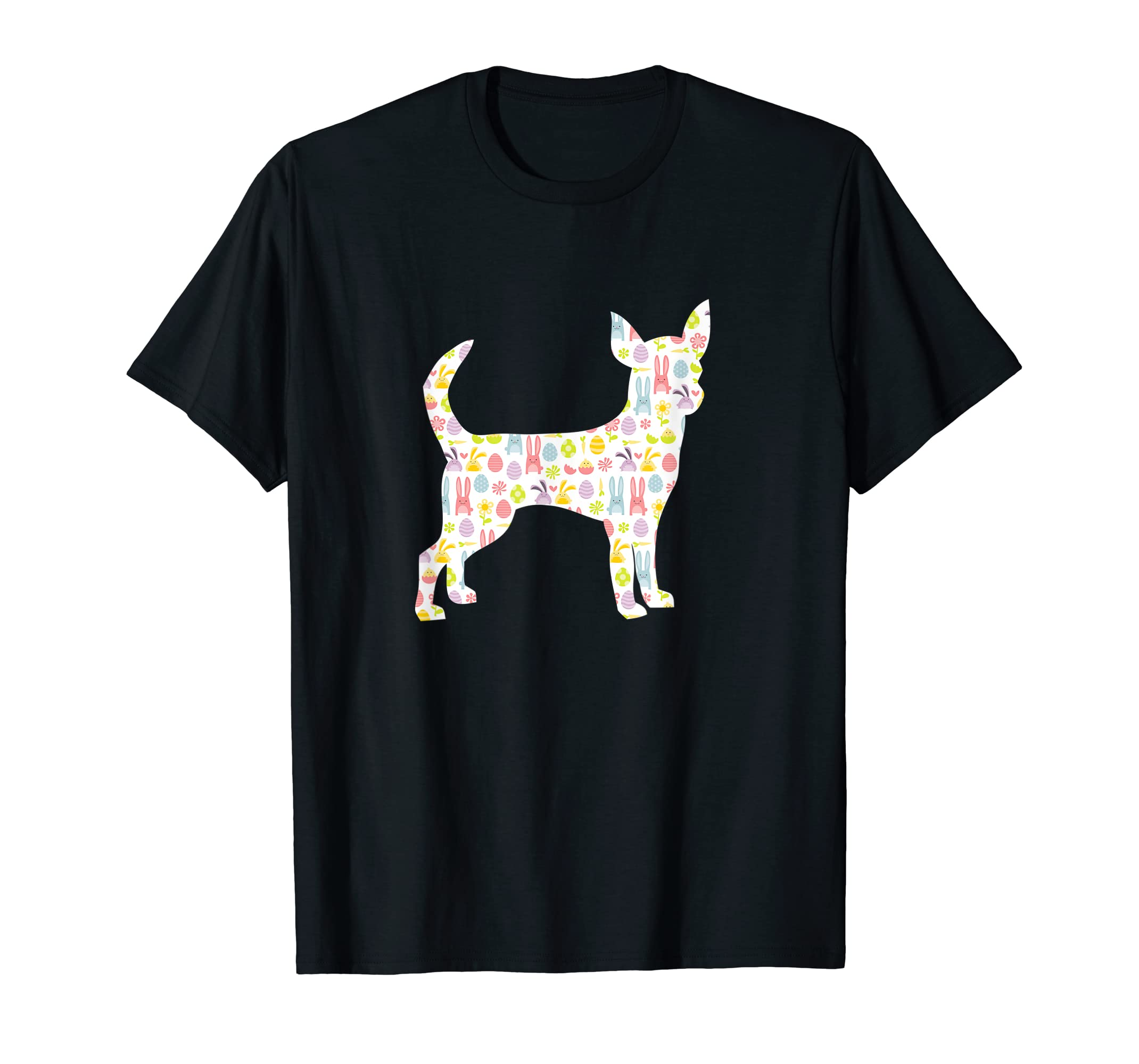 Chihuahua Easter Bunny Dog Silhouette T-Shirt-Men's T-Shirt-Black