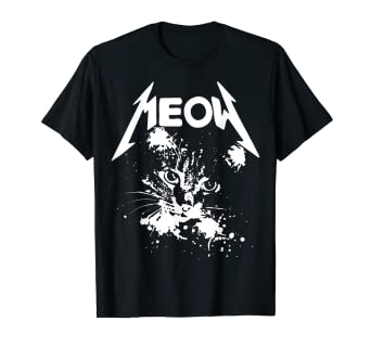 c176c82817 Amazon.com: 'Metal Meow' Cute Cat Funny Evil Kitten T-Shirt: Clothing