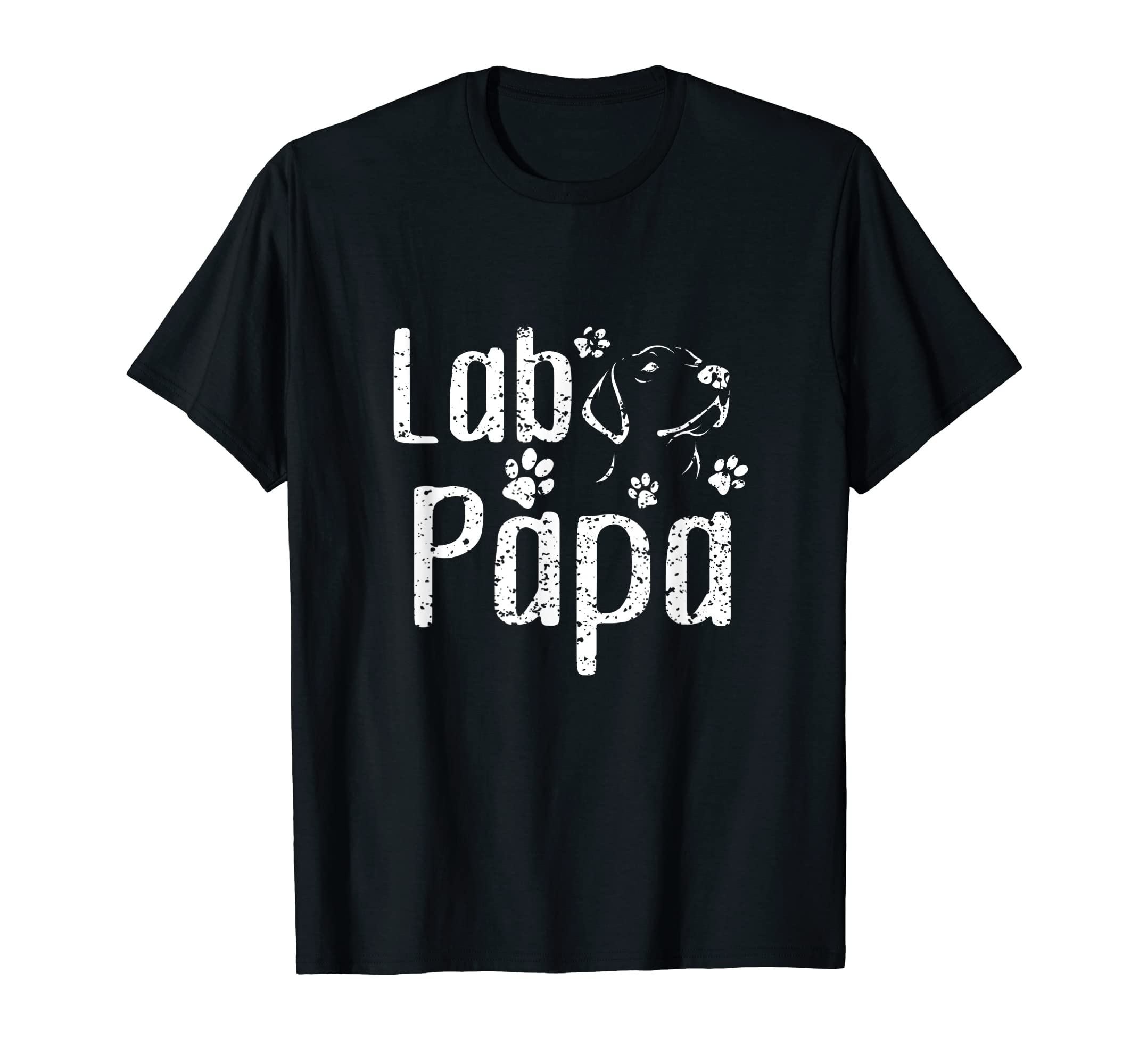Lab Papa Labrador Retriever Vintage Tee Cute Lover Dog Dad T-Shirt-Men's T-Shirt-Black