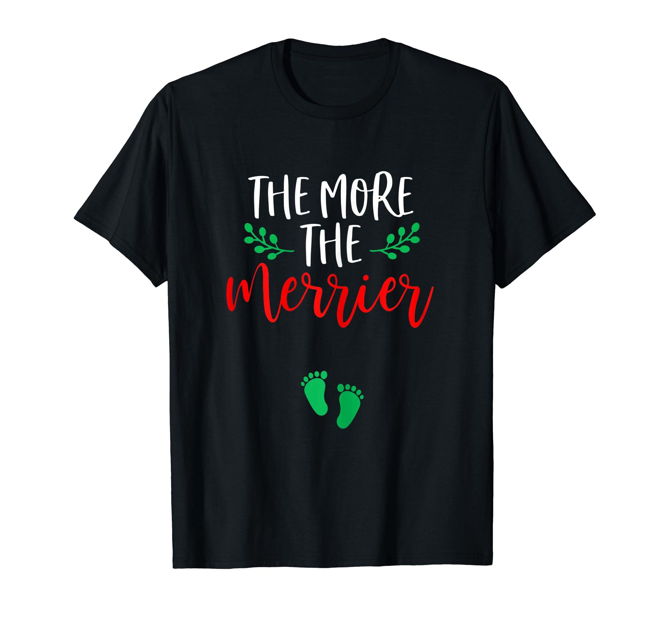 Womens Christmas Pregnancy Announcement Shirt Holiday Baby Reveal T-Shirt-Men's T-Shirt-Black