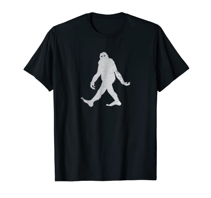 Funny Tall Big Foot Walking distressed graphic Tee Shirt