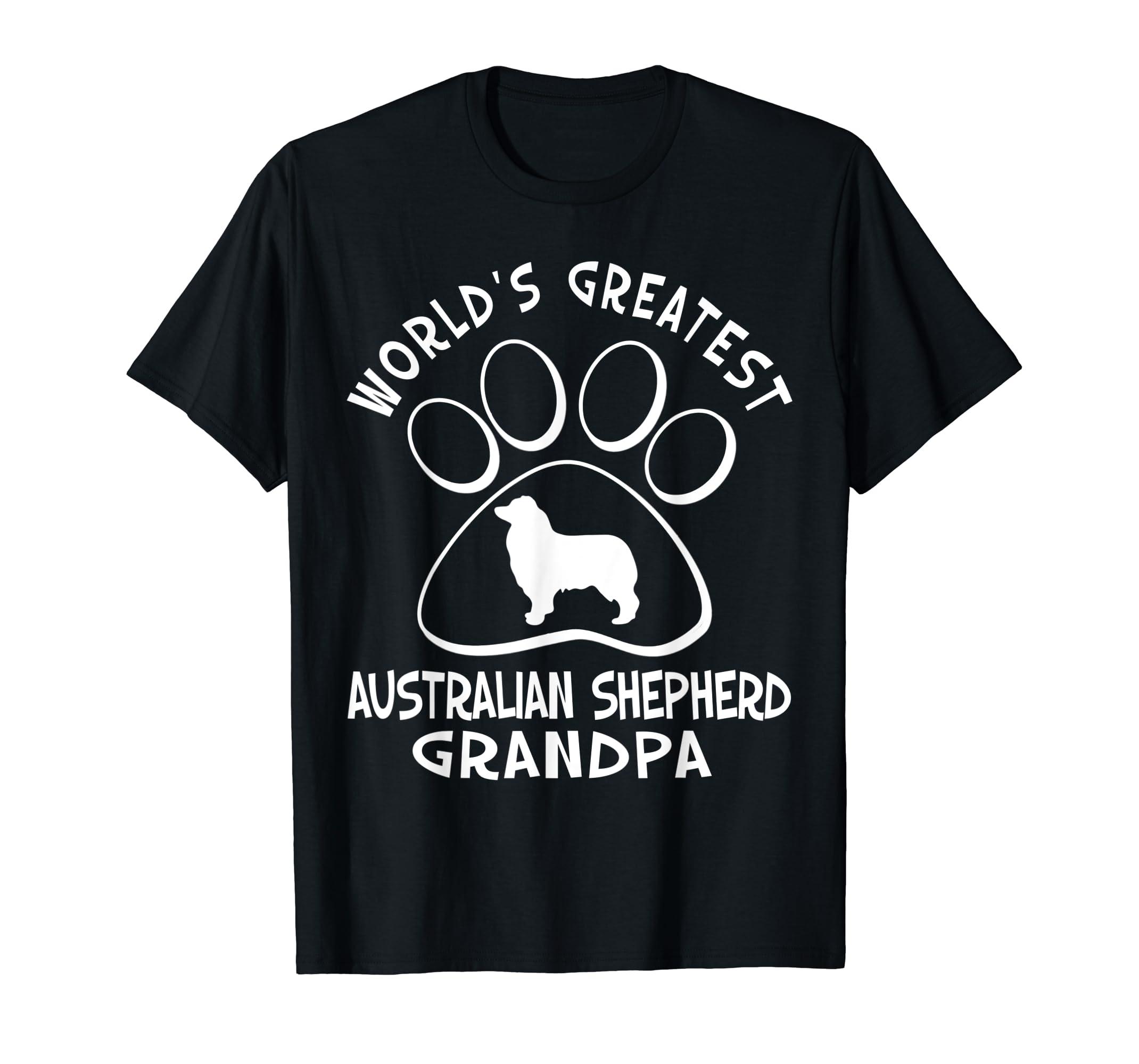 World's Greatest Australian Shepherd Grandpa T-Shirt-Men's T-Shirt-Black