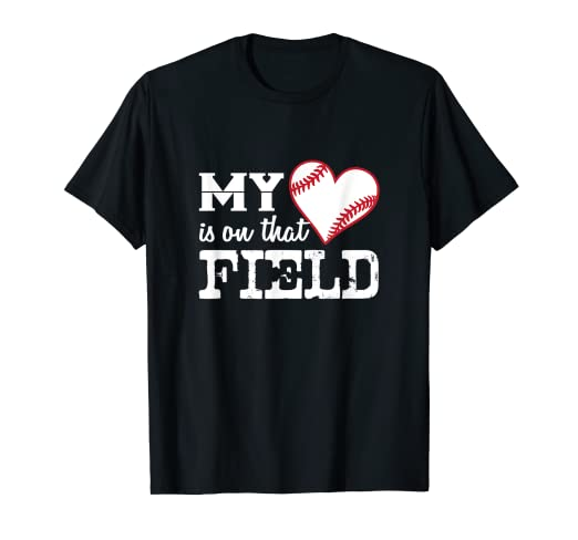 3ec991c0 Image Unavailable. Image not available for. Color: My Heart is On That  Field - Cute Baseball Mom Shirt
