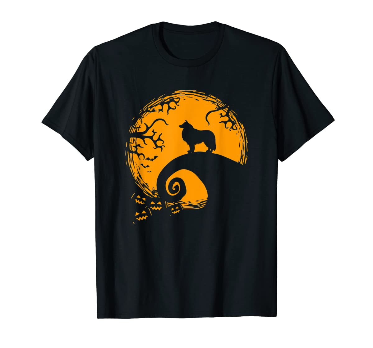 Funny Border Collie And Moon Halloween Costume Shirt-Men's T-Shirt-Black