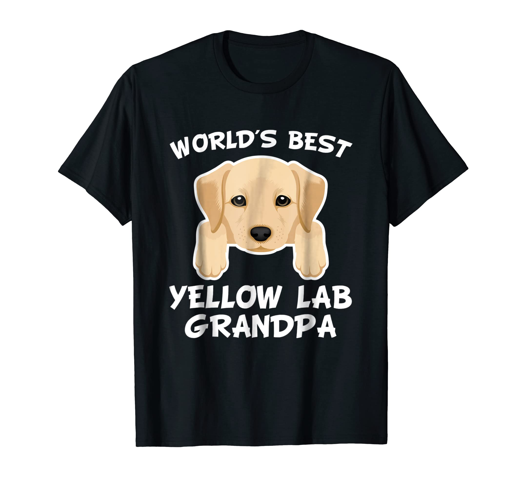Mens World's Best Yellow Lab Grandpa Dog Granddog T-Shirt-Men's T-Shirt-Black