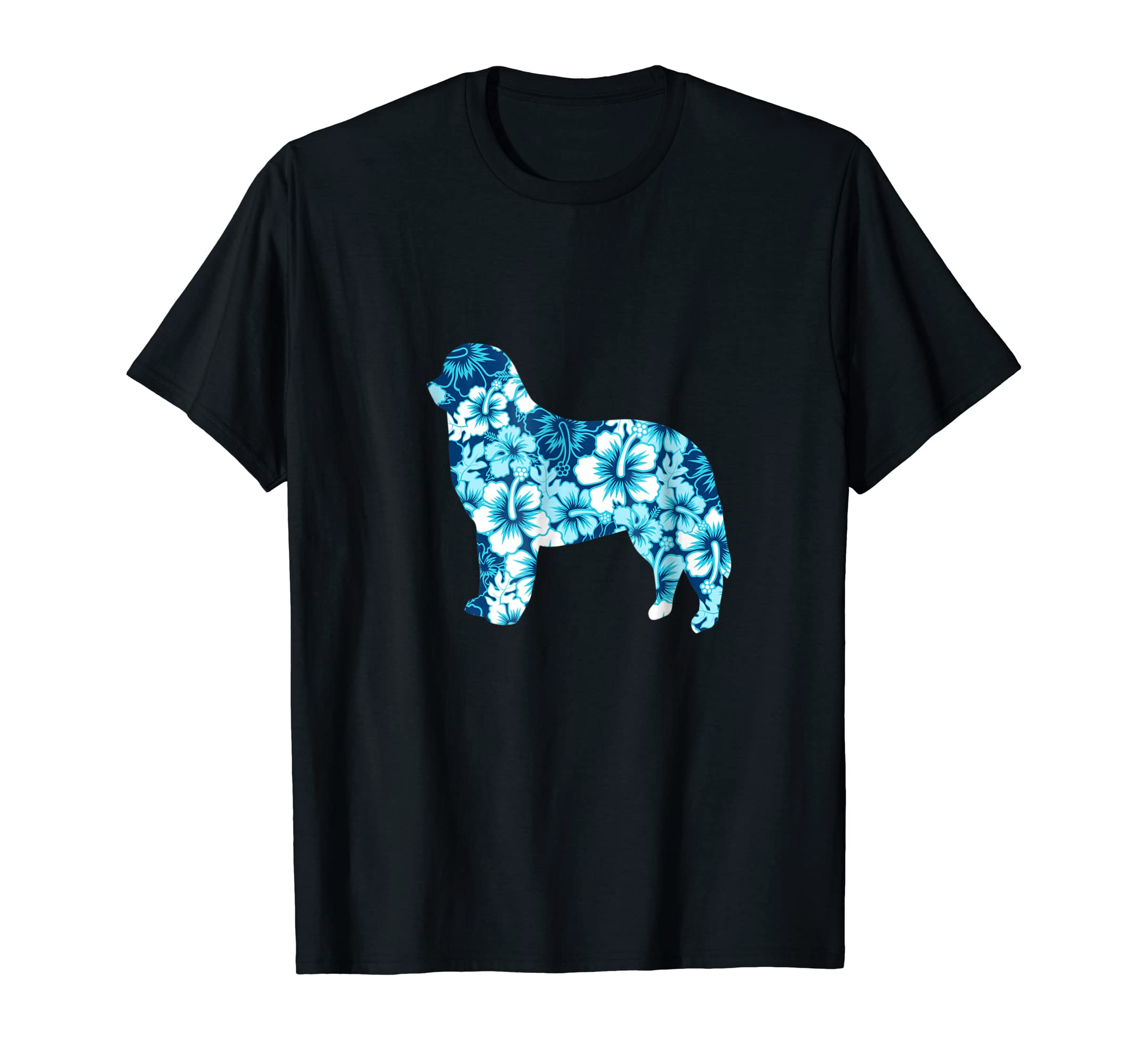 Bernese Mountain Dog Aloha Hawaiian Silhouette T-Shirt Blue-Men's T-Shirt-Black