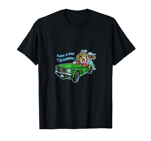 Amazon Com Muscle Car Santa T Shirt Clothing