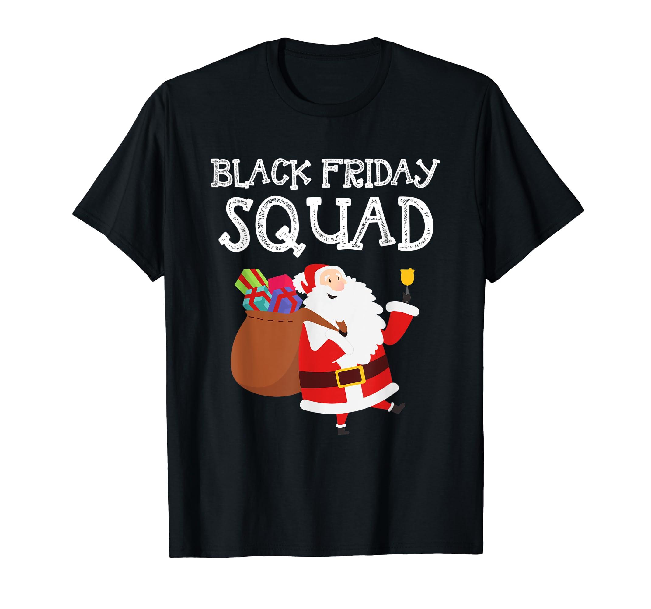 Black Friday Squad Shopping Team Tee Funny Christmas Santa T-Shirt-Men's T-Shirt-Black