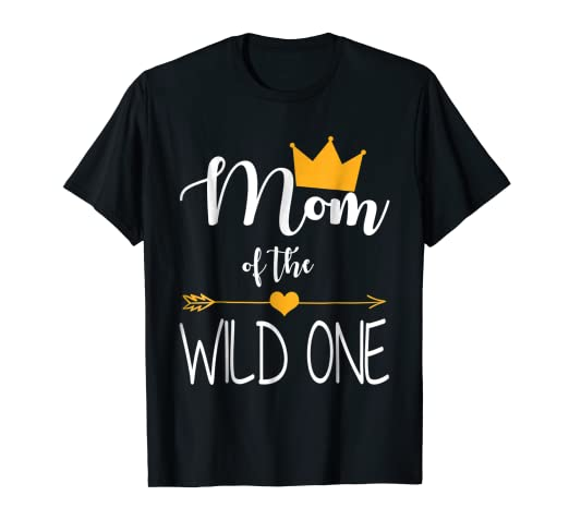41661a0c Image Unavailable. Image not available for. Color: Mom of the Wild One baby  first birthday funny gift shirt