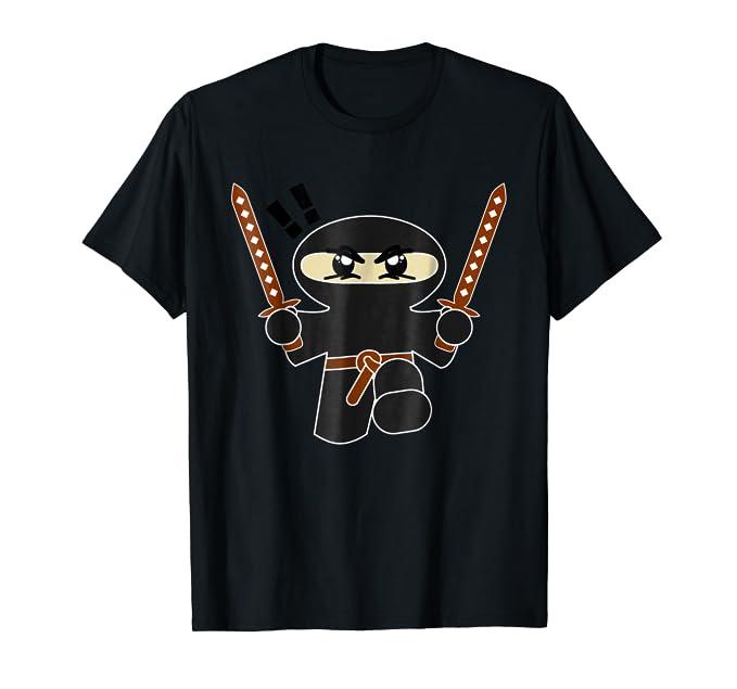 Cute Ninja Kid with Two Swords graphic cartoon Tee Shirt