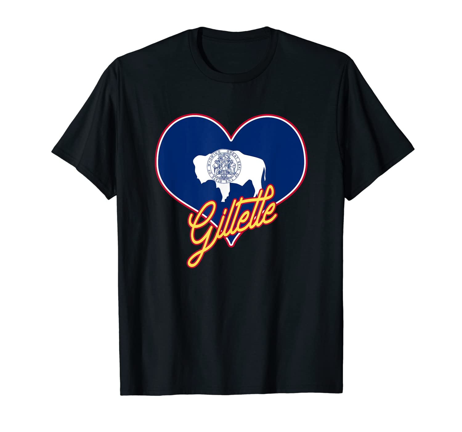 I Love Gillette Wyoming State Flag in Heart Hometown T-Shirt