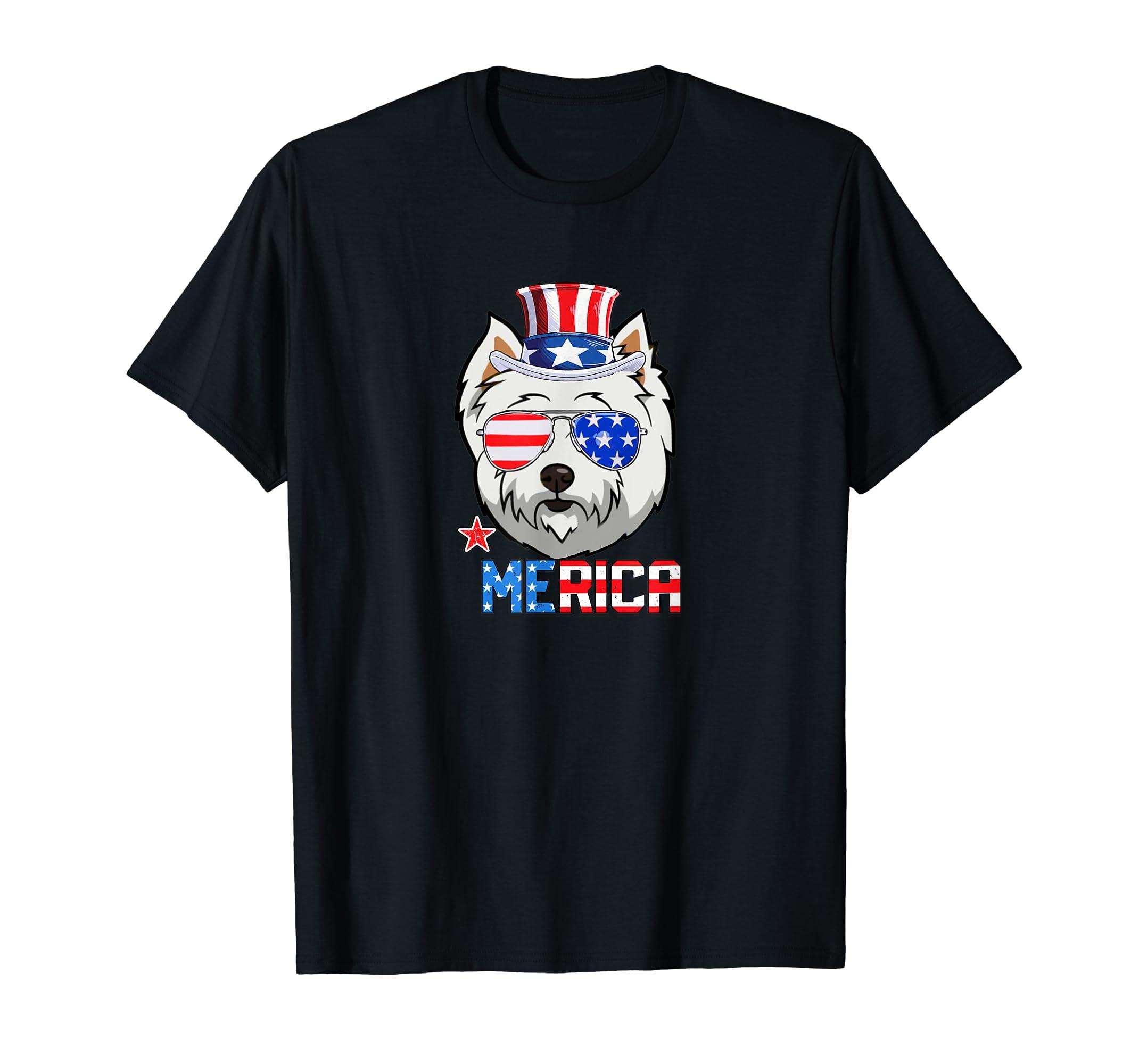 Westie Merica Glasses Uncle Sam Hat US Flag July 4th Shirt-Men's T-Shirt-Black