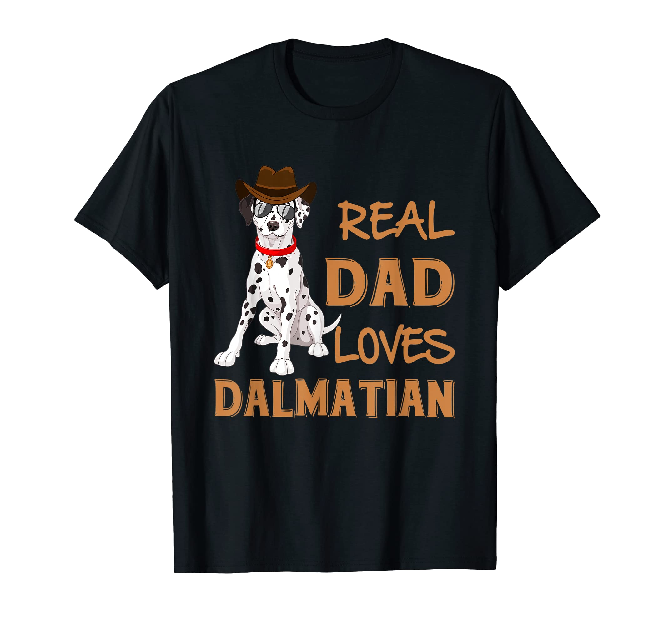 Dalmatian Dad T Shirt Cowboy Gift Fireman Dog Gifts Father  T-Shirt-Men's T-Shirt-Black