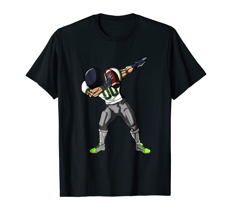 Football Dabbing T Shirt Funny Gray Navy Neon Green