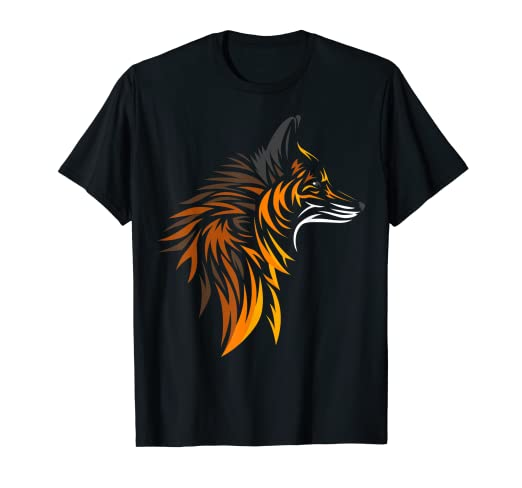 01d868a2 Image Unavailable. Image not available for. Color: Tribal Fox T-shirt  tattoo cute style design tshirt