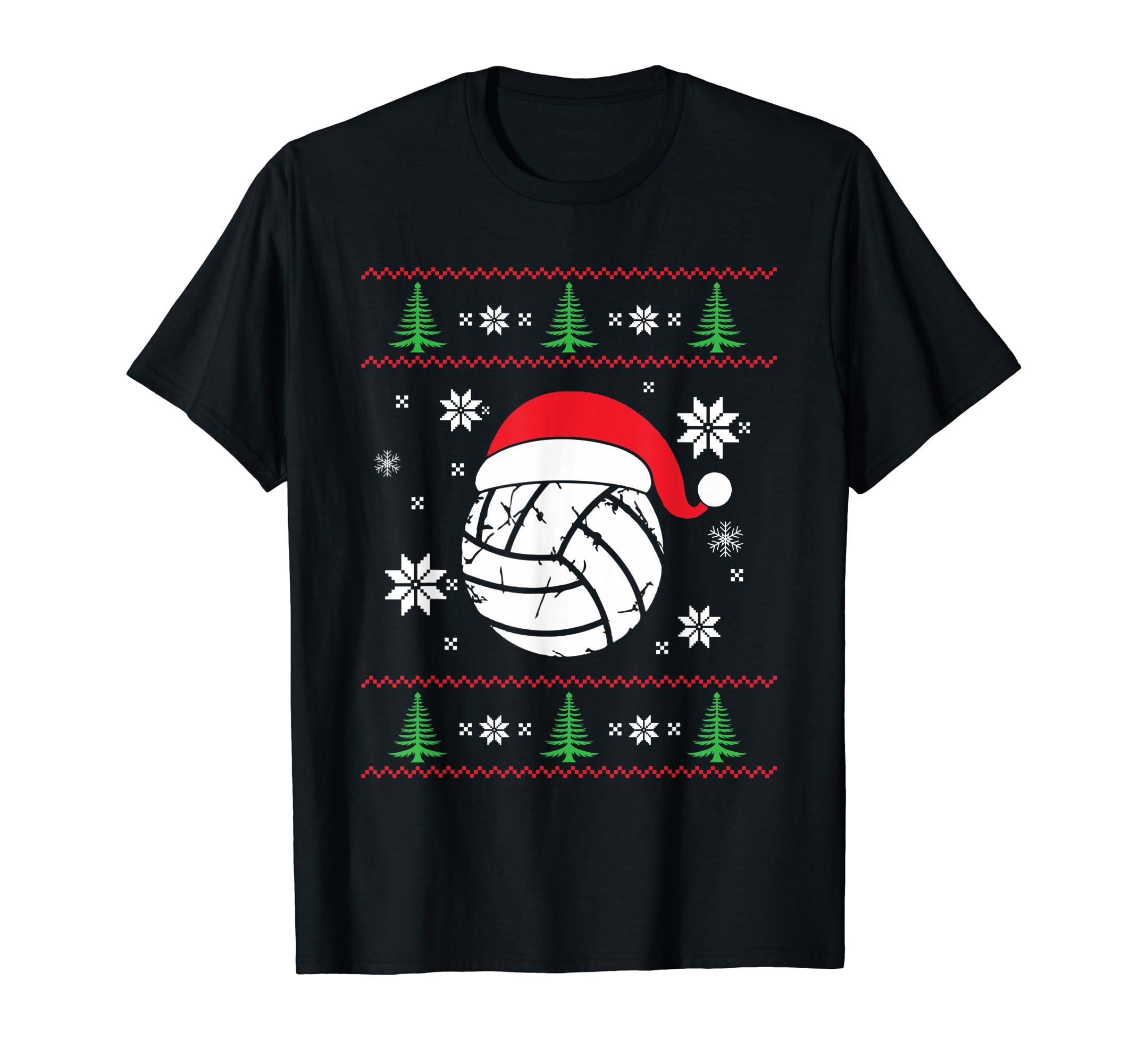 Volleyball Ball Santa Hat - Christmas Volleyball T-Shirt-Men's T-Shirt-Black