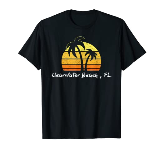 7b64414e601 Amazon.com: Retro Clearwater Beach T-shirt Florida Beach Shirt: Clothing