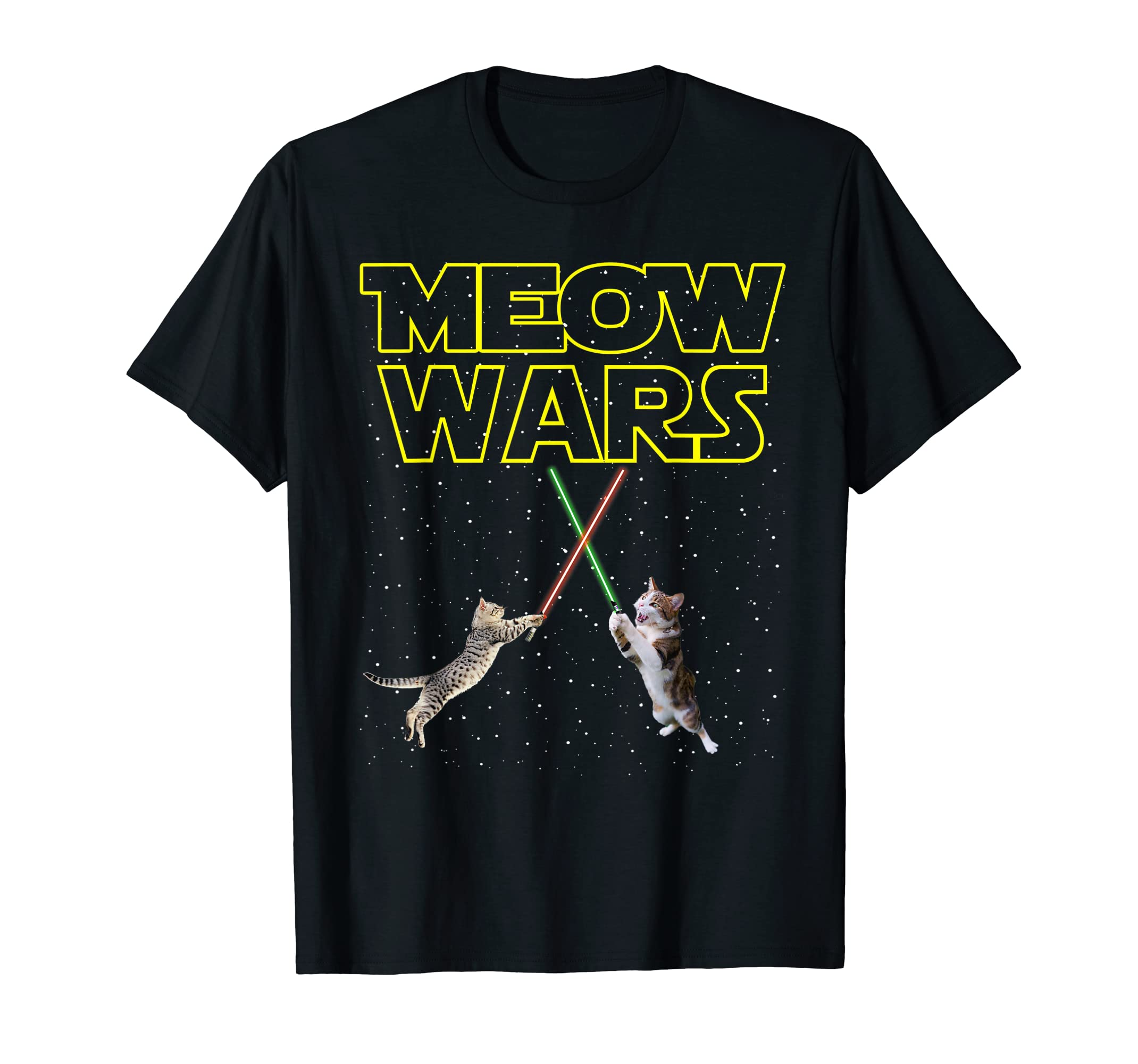 Meow Wars Cat Shirt Funny Gifts For Cats Lovers T-Shirts-Men's T-Shirt-Black