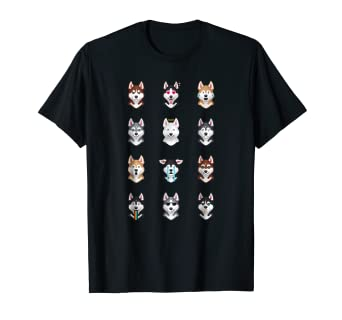 db1908ed Image Unavailable. Image not available for. Color: Funny Siberian Husky  Emoji T-Shirt
