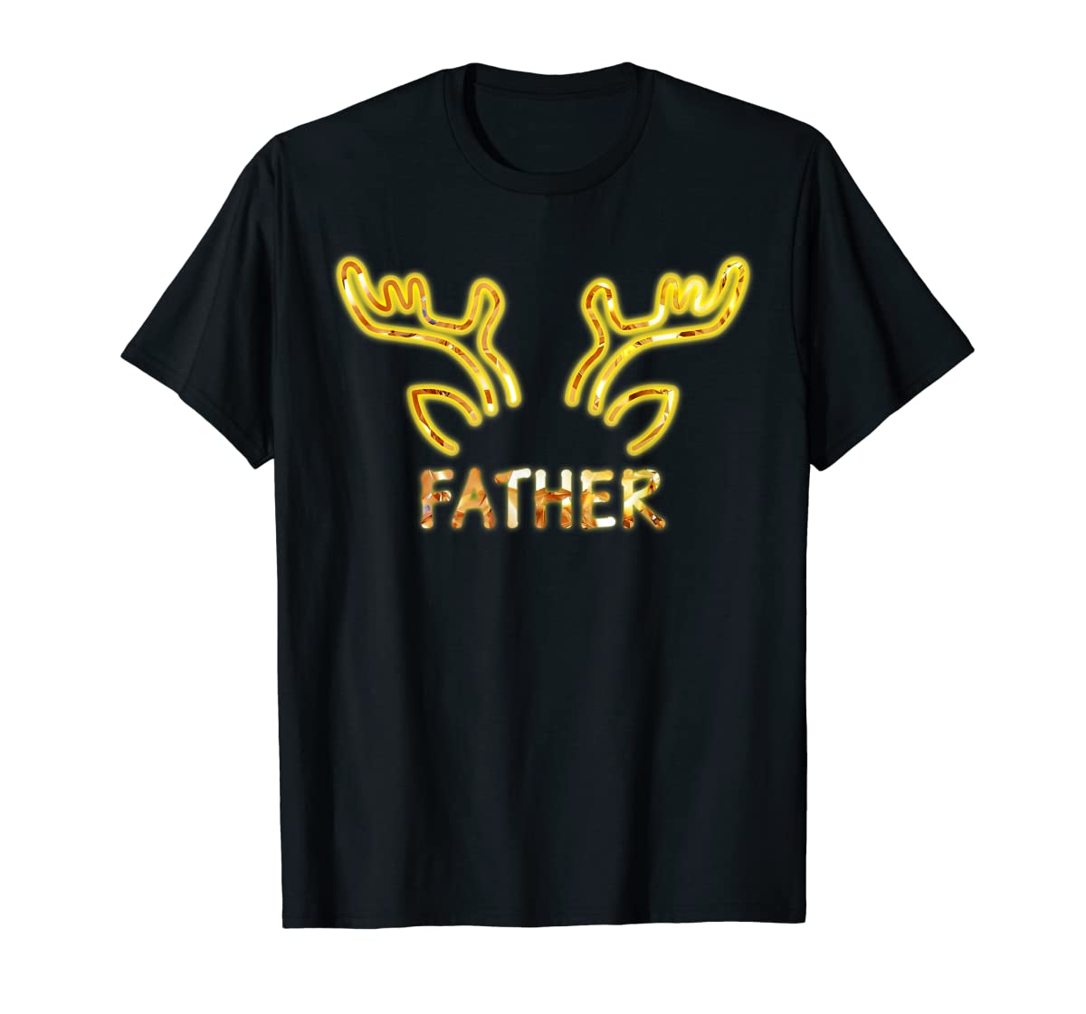 Father Reindeer Matching Family Christmas T-Shirt T-Shirt-Men's T-Shirt-Black
