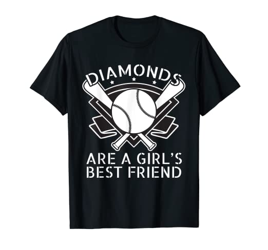 d5abfeec Image Unavailable. Image not available for. Color: Funny Softball T-Shirt  Diamonds Are a Girls Best Friend