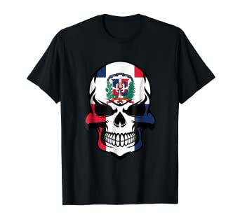 38a951d7 Image Unavailable. Image not available for. Color: Dominican Flag Skull  Cool Dominican Republic Skull T-Shirt