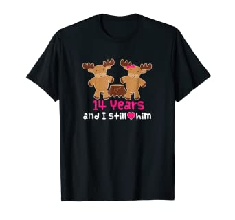 9500827574 Image Unavailable. Image not available for. Color: 14th Anniversary T-shirt  Funny Moose Couples Gift Tee