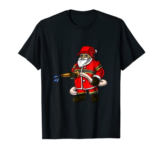 1970da6ff5e28 Image Unavailable. Image not available for. Color  Firefighter Christmas  Shirt XMas Funny Santa Claus Fireman