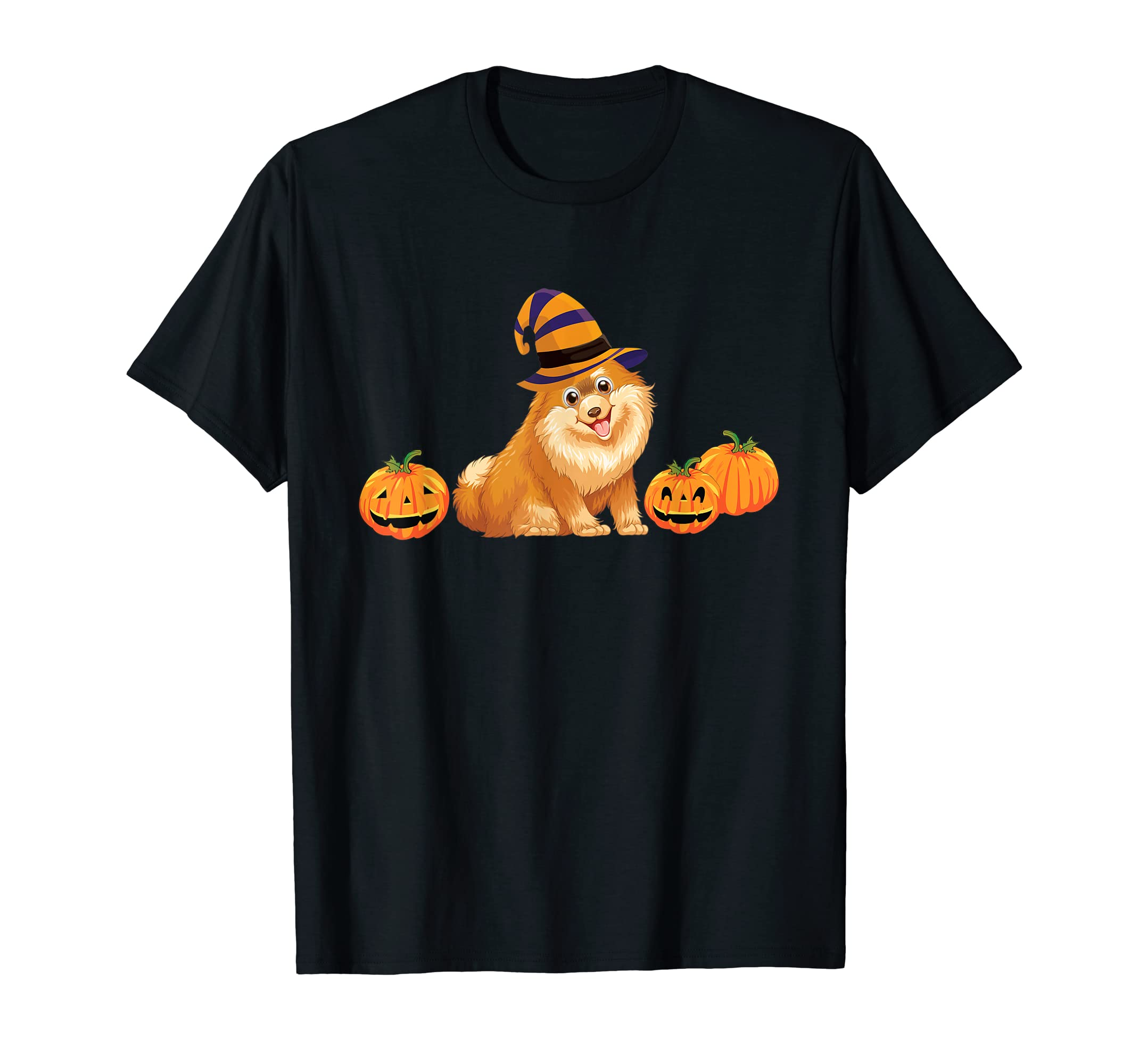 Pomeranian Dog Halloween Shirt Pug Lovers Pumpkin Tee-Men's T-Shirt-Black