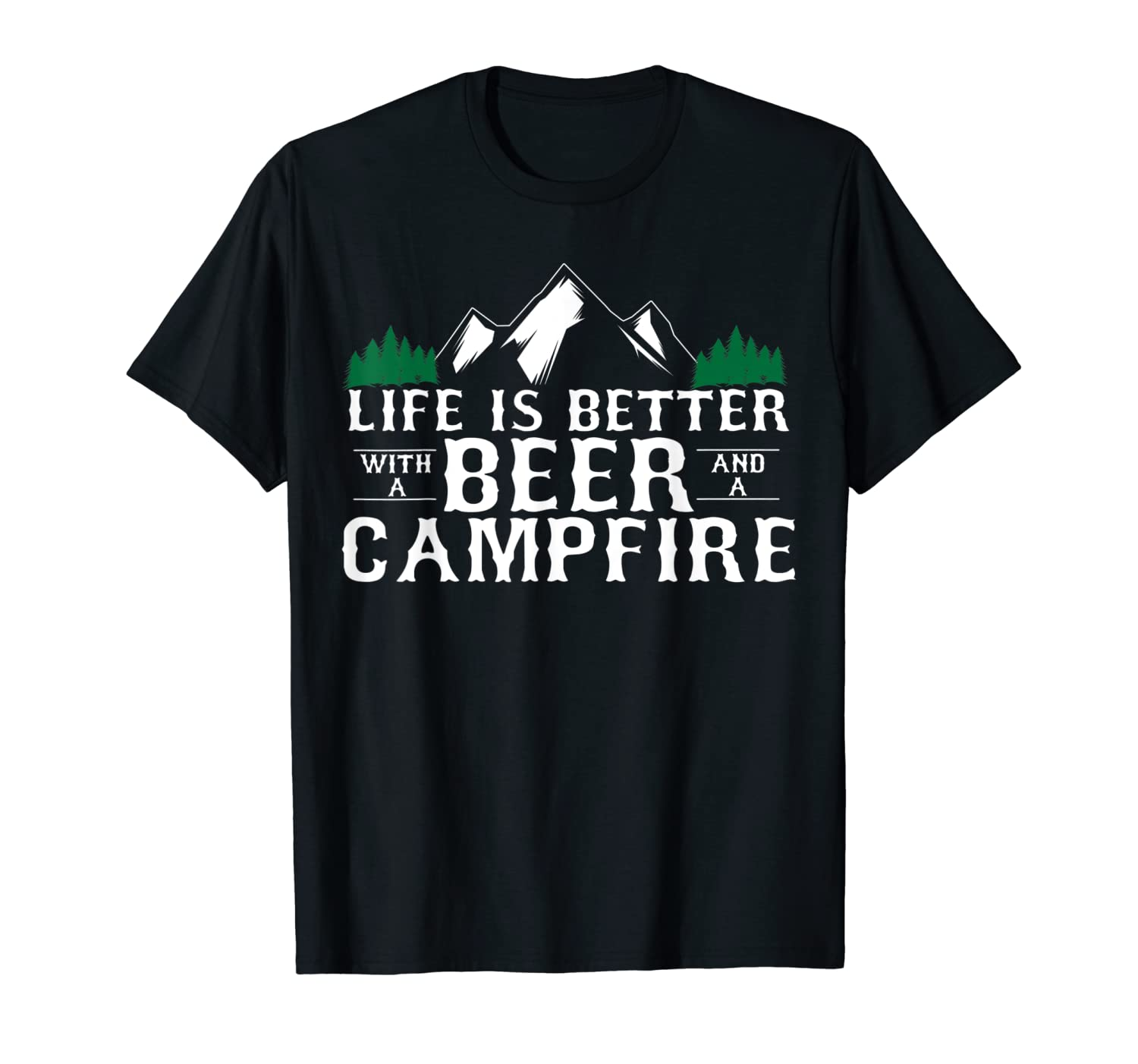 9654674b Amazon.com: Funny Camping with a Beer Tshirt - Campfire Life: Clothing