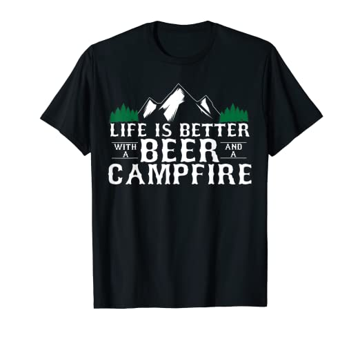 4839eb5f Image Unavailable. Image not available for. Color: Funny Camping with a Beer  Tshirt - Campfire Life