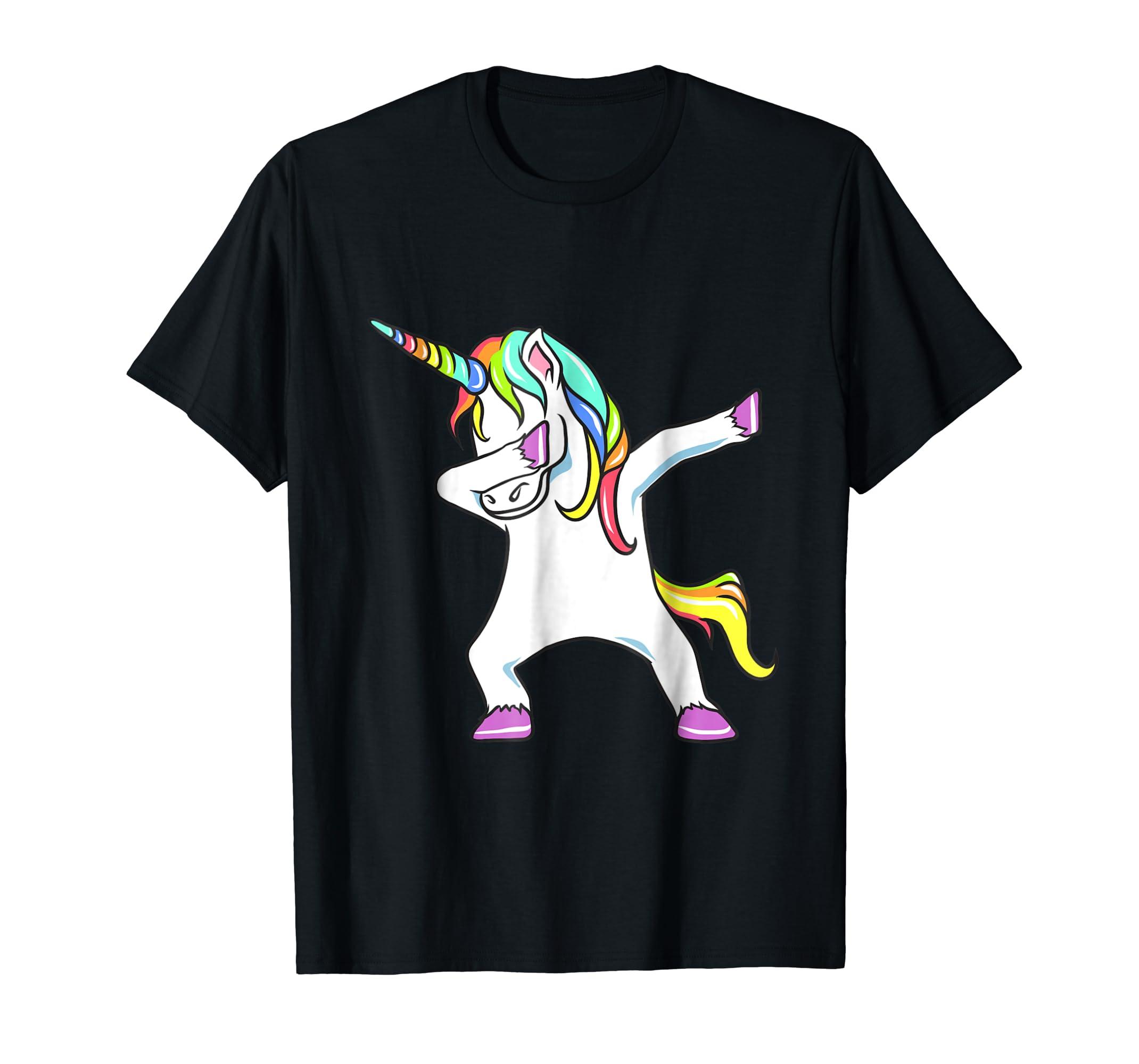 efe6d861bffb Amazon.com: Dabbing Unicorn Shirt - Dab EDM Festival T-Shirt: Clothing