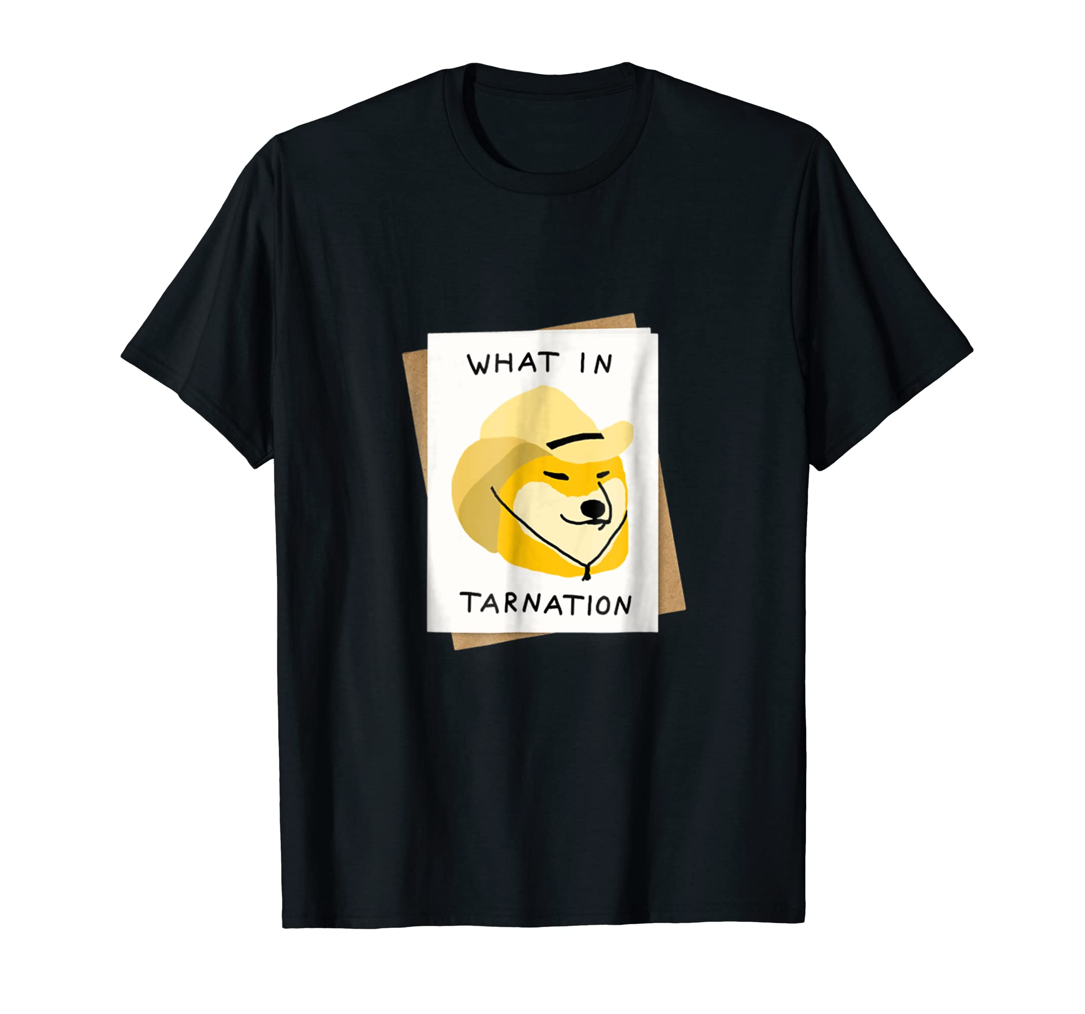 What In Tarnation Shirt Shiba Inu Cowboy Hat Meme Tee-Men's T-Shirt-Black