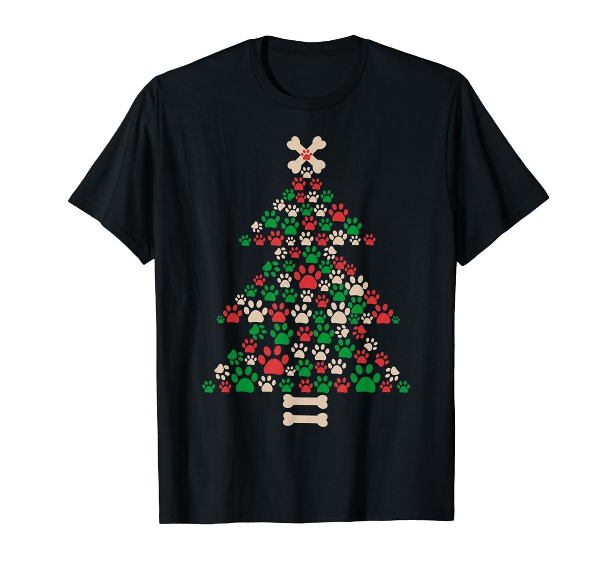 Christmas Tree Made Of Bones And Paw Prints Dog Lover T-Shirt-Men's T-Shirt-Black