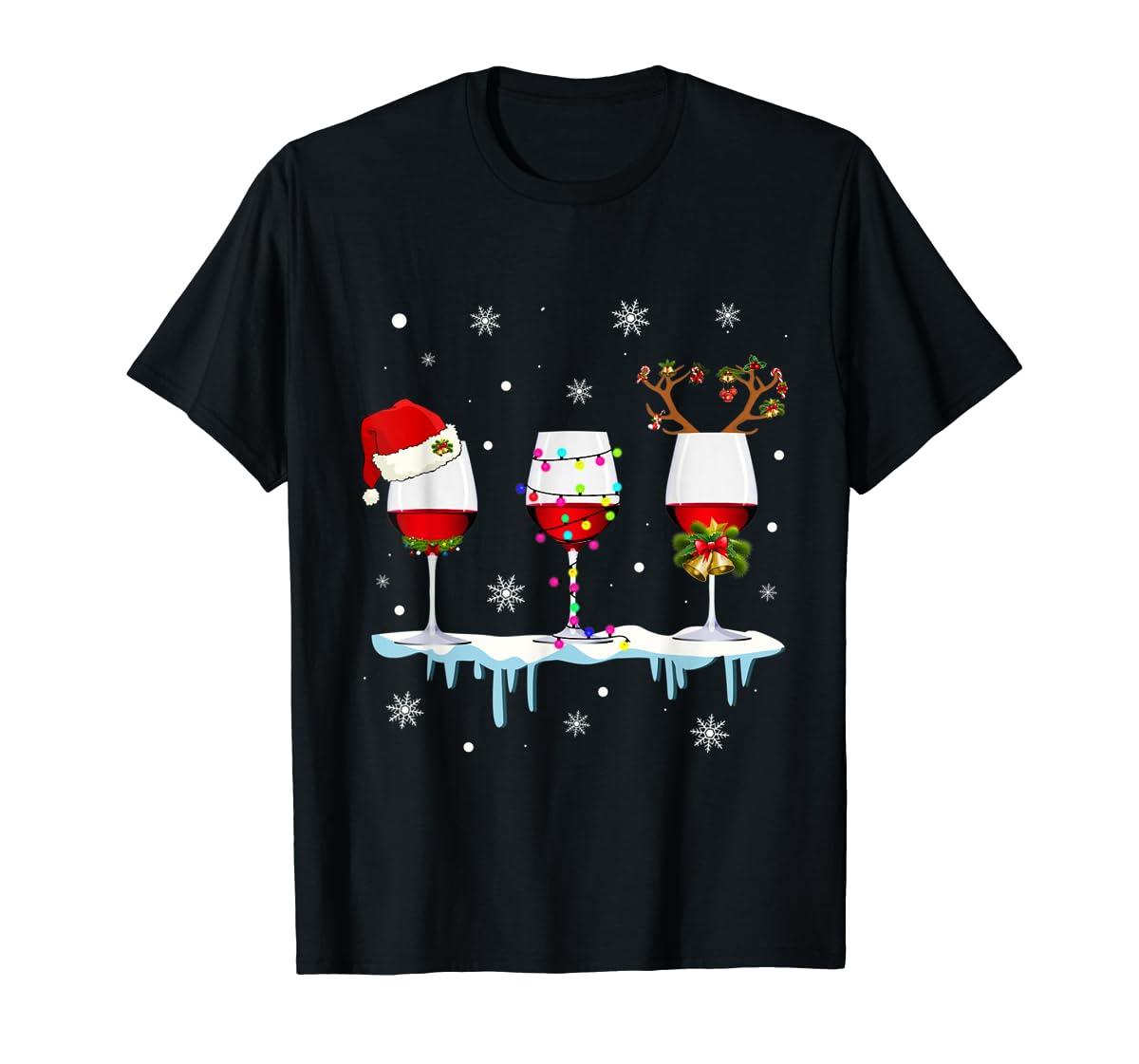 Three Glass of Red Wine Santa Hat Christmas T-Shirt-Men's T-Shirt-Black