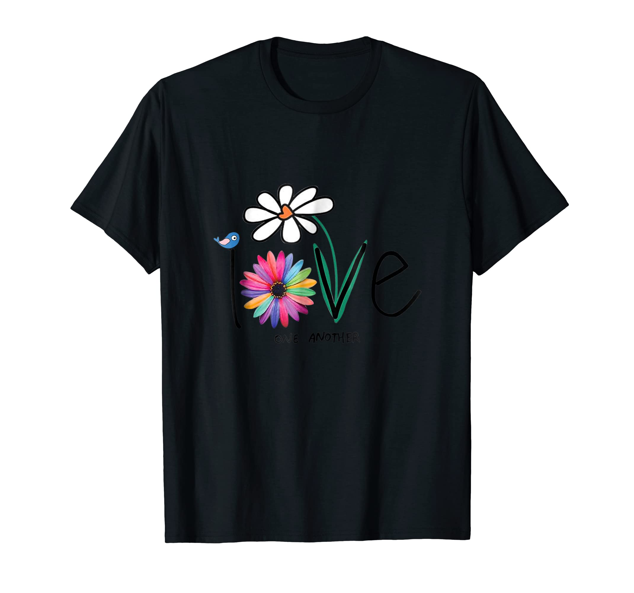 Love One Another Bird Daisy Flower Peace Funny T-Shirt-Men's T-Shirt-Black