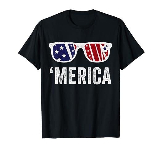 256838f11787 Amazon.com: 4th of July Merica Sunglasses T-Shirt US Flag Patriotic ...